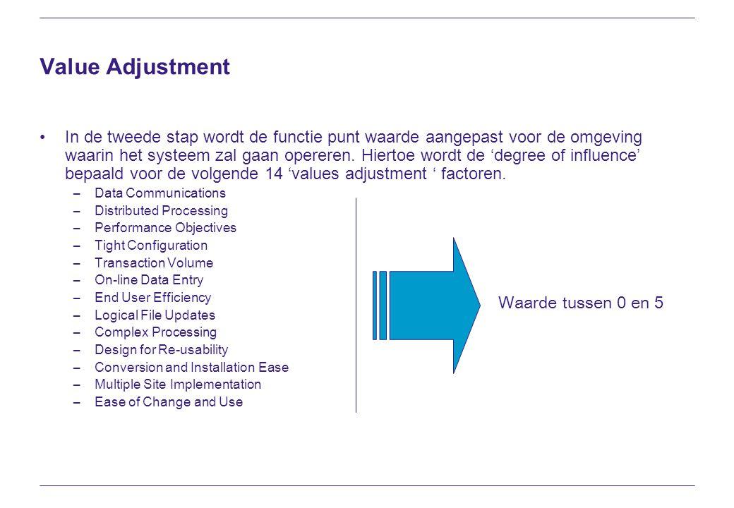 Value Adjustment In de tweede stap wordt de functie punt waarde aangepast voor de omgeving waarin het systeem zal gaan opereren. Hiertoe wordt de 'deg