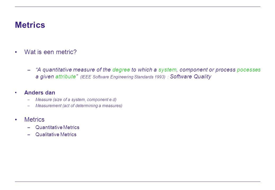 Metrics Waarom zijn metrics belangrijk.