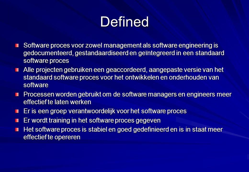 Defined Software proces voor zowel management als software engineering is gedocumenteerd, gestandaardiseerd en geïntegreerd in een standaard software