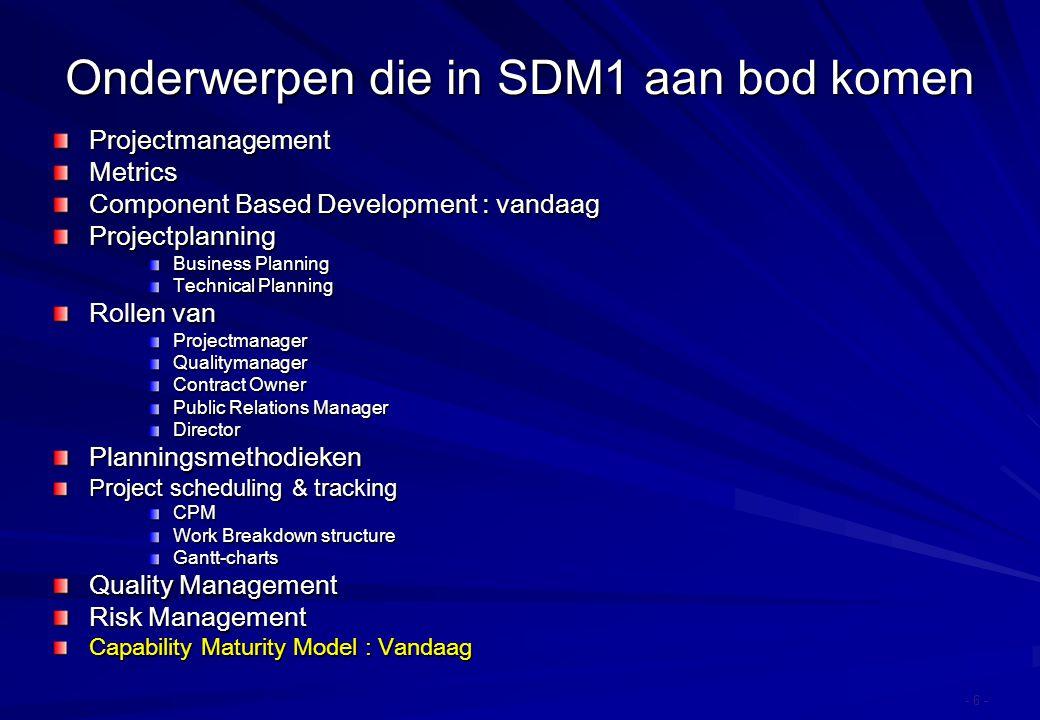 Onderwerpen die in SDM1 aan bod komen ProjectmanagementMetrics Component Based Development : vandaag Projectplanning Business Planning Technical Plann