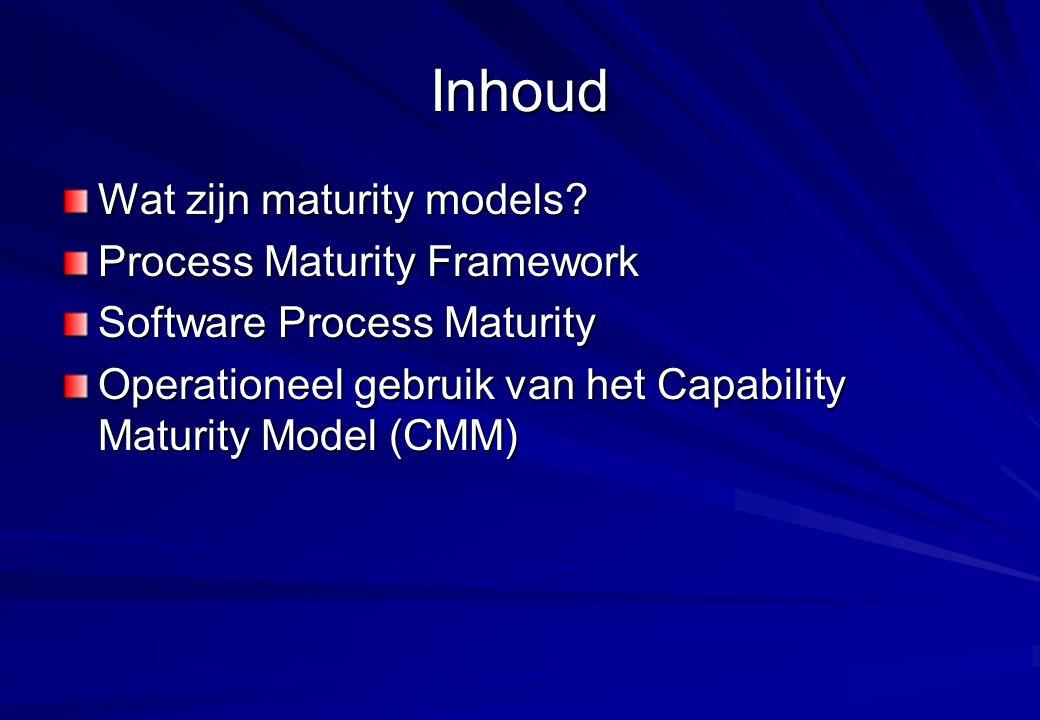 Inhoud Wat zijn maturity models? Process Maturity Framework Software Process Maturity Operationeel gebruik van het Capability Maturity Model (CMM)