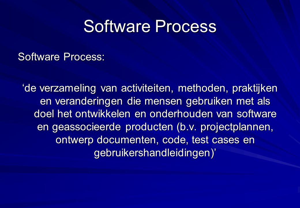 Fundamentele concepten voor Process Maturity Software Process Capability –Voorspellen van de verwachte uitkomst van een volgend software project Software Process Performance –Actuele resultaten van een software project Software Process Maturity –De mate waarin een software proces expliciet wordt gedefinieerd, gemanaged, gemeten, gecontroleerd en effectief is Software Process Institutionalization –De mate waarin het software proces is geïnstitutionaliseerd ten aanzien van methoden, standaarden en organisatie structuur CMM voor software geeft organisaties houvast ten aanzien van het krijgen van controle over het software process en hoe te komen tot een situatie van excellence in software engineering