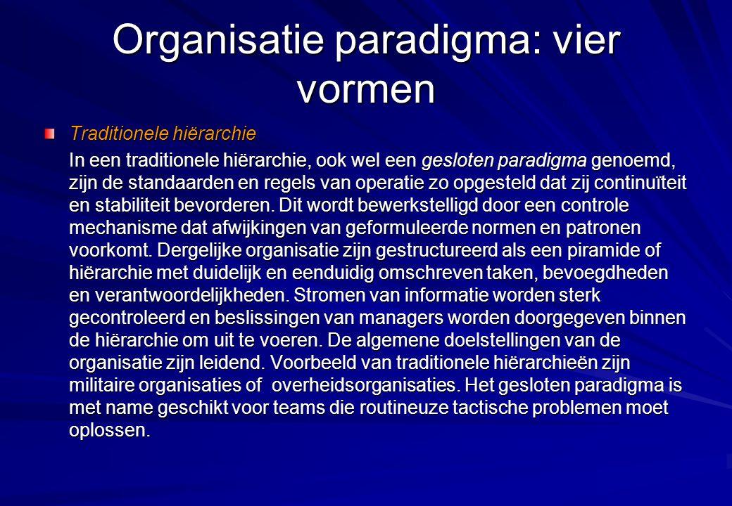 Organisatie paradigma: vier vormen Traditionele hiërarchie In een traditionele hiërarchie, ook wel een gesloten paradigma genoemd, zijn de standaarden