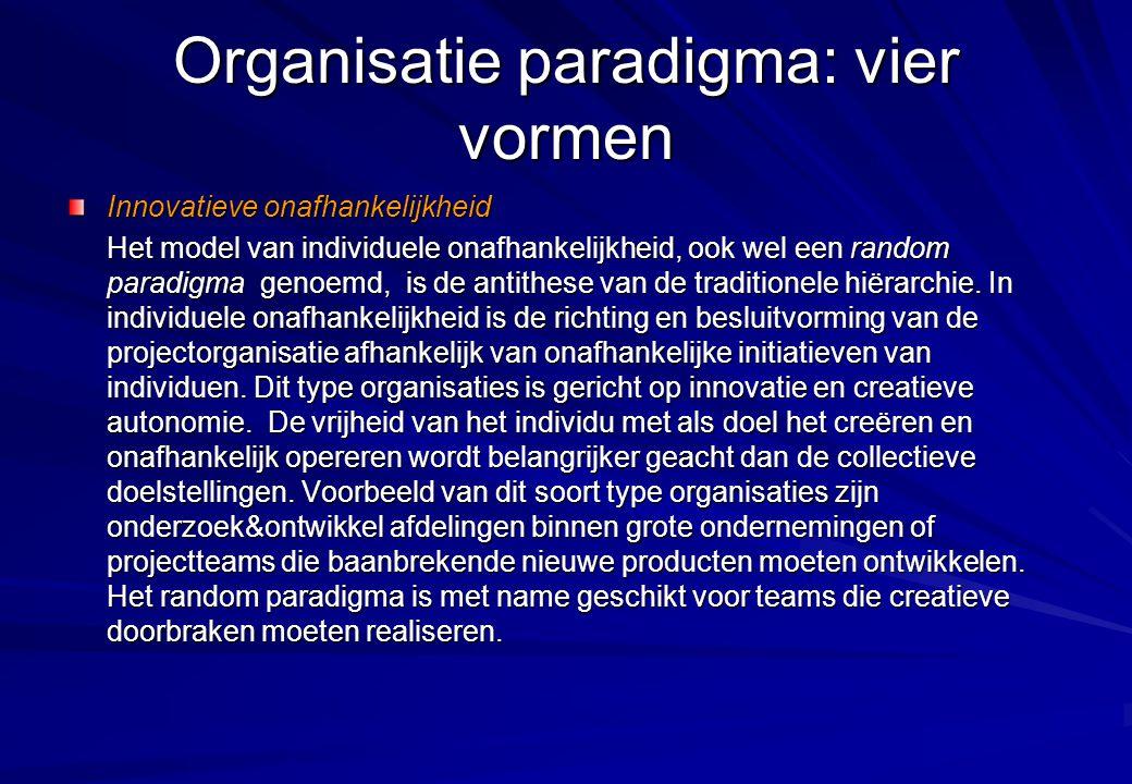 Organisatie paradigma: vier vormen Innovatieve onafhankelijkheid Het model van individuele onafhankelijkheid, ook wel een random paradigma genoemd, is