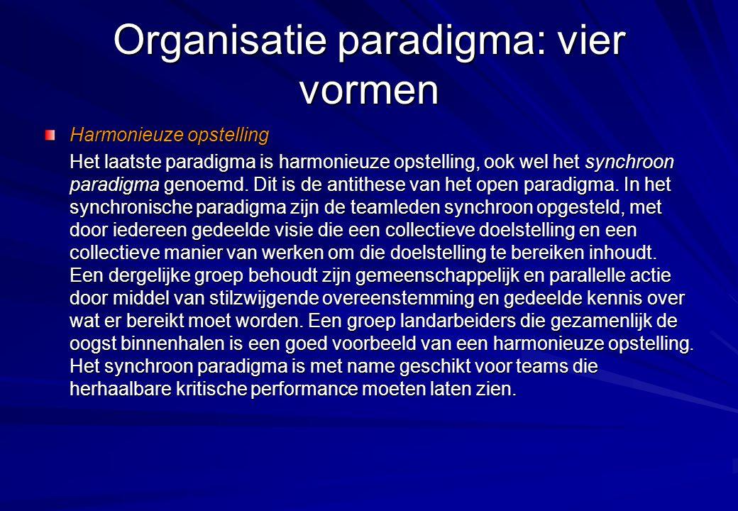 Organisatie paradigma: vier vormen Harmonieuze opstelling Het laatste paradigma is harmonieuze opstelling, ook wel het synchroon paradigma genoemd. Di
