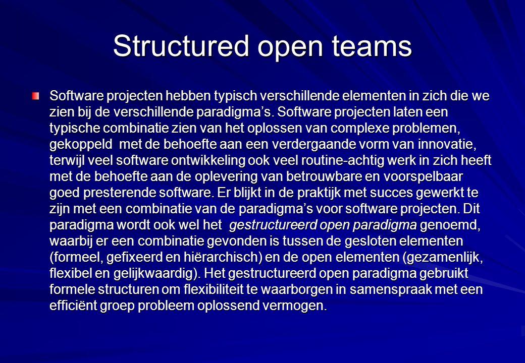 Structured open teams Software projecten hebben typisch verschillende elementen in zich die we zien bij de verschillende paradigma's. Software project