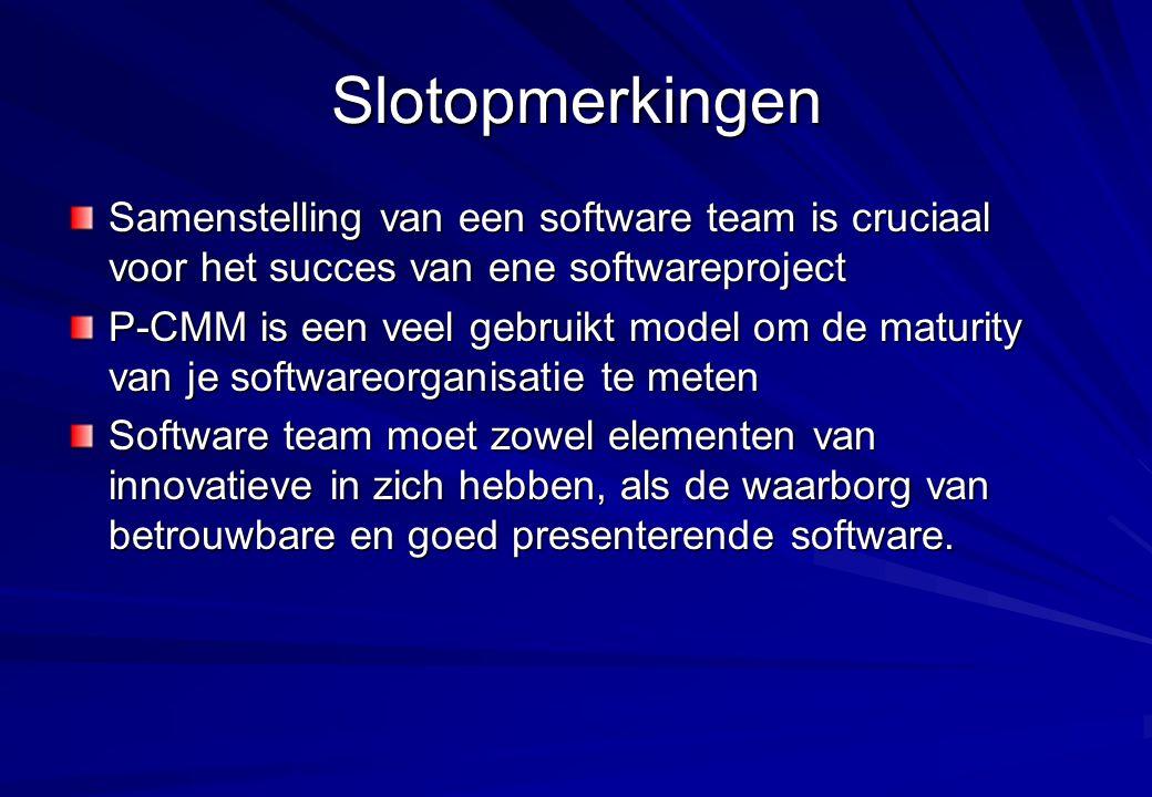 Slotopmerkingen Samenstelling van een software team is cruciaal voor het succes van ene softwareproject P-CMM is een veel gebruikt model om de maturit