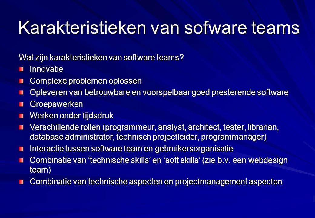 Karakteristieken van sofware teams Wat zijn karakteristieken van software teams? Innovatie Complexe problemen oplossen Opleveren van betrouwbare en vo