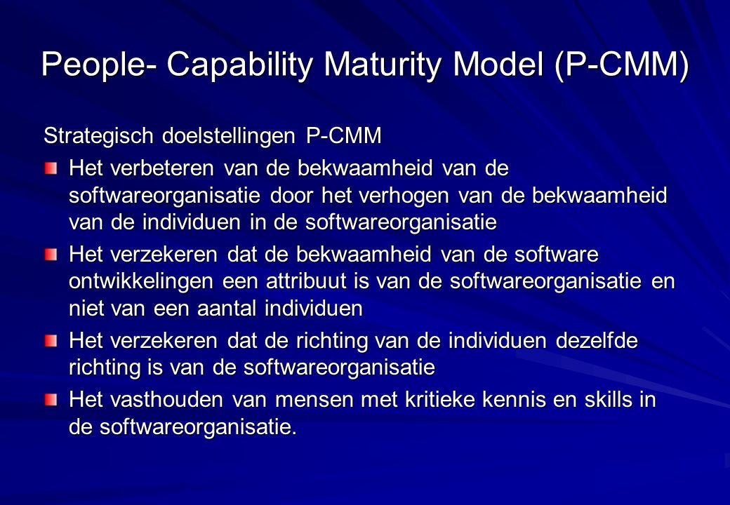 People- Capability Maturity Model (P-CMM) Strategisch doelstellingen P-CMM Het verbeteren van de bekwaamheid van de softwareorganisatie door het verho