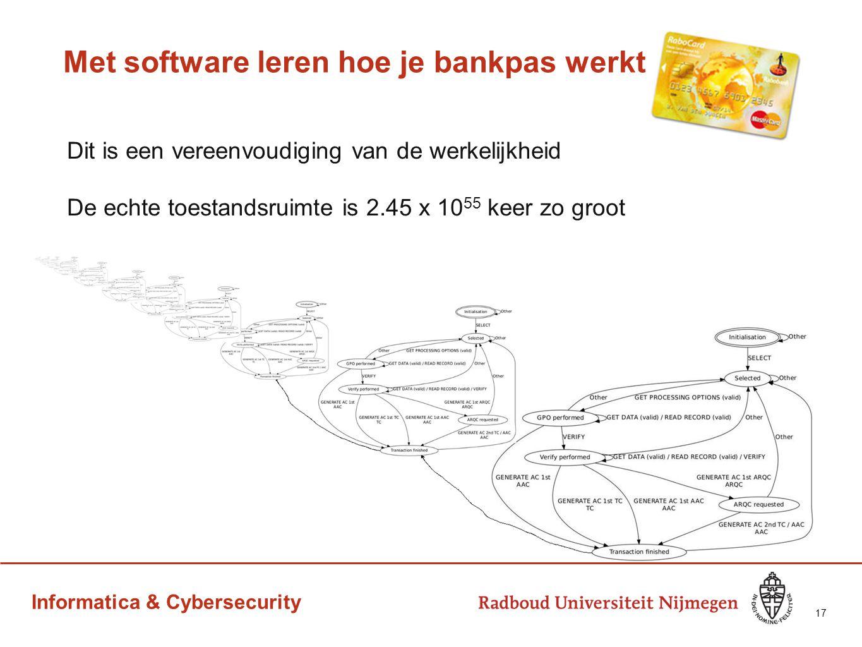 Informatica & Cybersecurity Met software leren hoe je bankpas werkt Dit is een vereenvoudiging van de werkelijkheid De echte toestandsruimte is 2.45 x