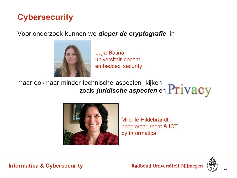 Informatica & Cybersecurity Cybersecurity Voor onderzoek kunnen we dieper de cryptografie in maar ook naar minder technische aspecten kijken zoals jur