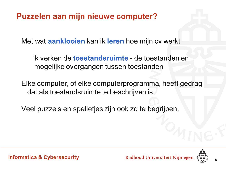 Informatica & Cybersecurity Puzzelen aan mijn nieuwe computer? Met wat aanklooien kan ik leren hoe mijn cv werkt ik verken de toestandsruimte - de toe