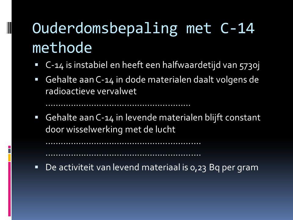 Ouderdomsbepaling met C-14 methode  C-14 is instabiel en heeft een halfwaardetijd van 5730j  Gehalte aan C-14 in dode materialen daalt volgens de ra