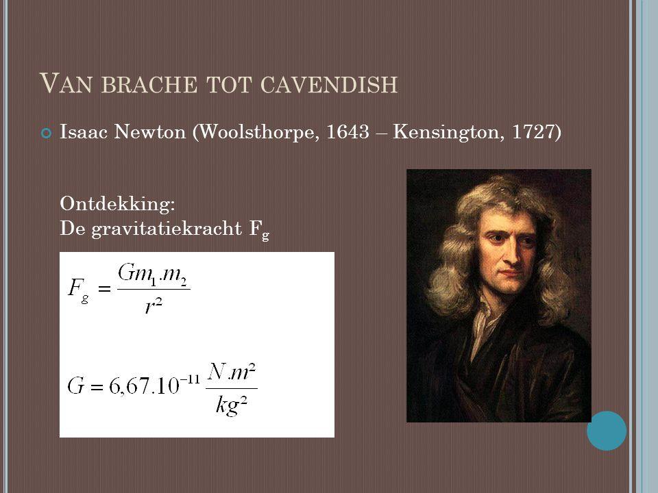 V AN BRACHE TOT CAVENDISH Henry Cavendish (Nice, 1731– London, 1810) was een Brits natuurkundige.