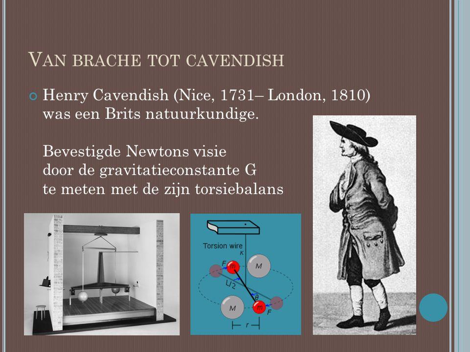 V AN BRACHE TOT CAVENDISH Henry Cavendish (Nice, 1731– London, 1810) was een Brits natuurkundige. Bevestigde Newtons visie door de gravitatieconstante