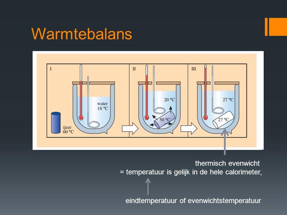 Warmtebalans thermisch evenwicht = temperatuur is gelijk in de hele calorimeter, eindtemperatuur of evenwichtstemperatuur
