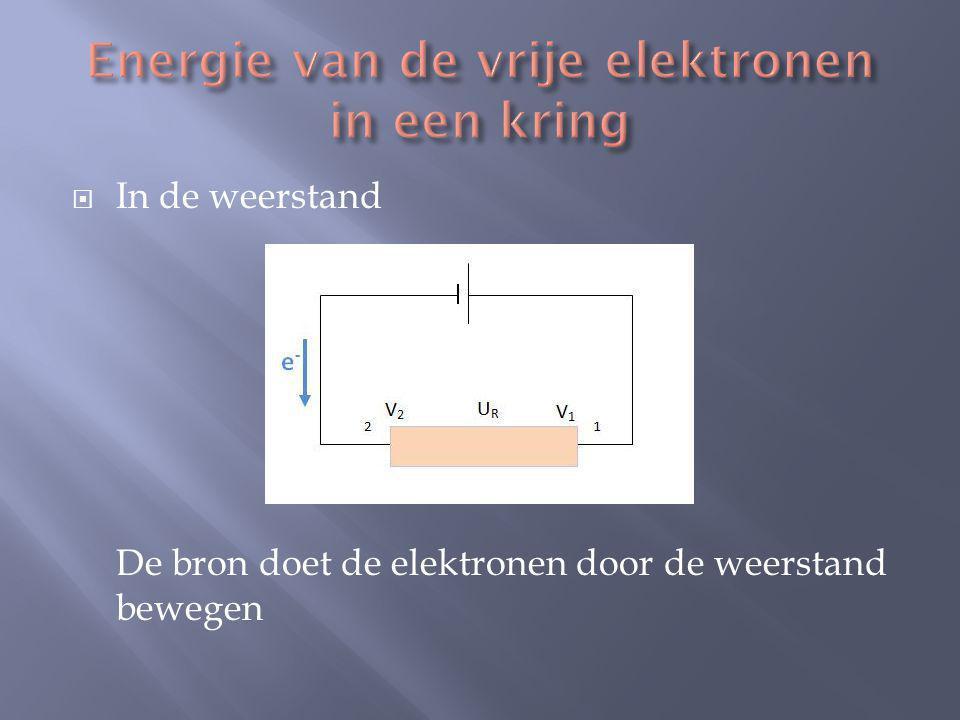 Beschouw 1 elektron (lading –e) dat zich van positie 2 naar 1verplaatst.
