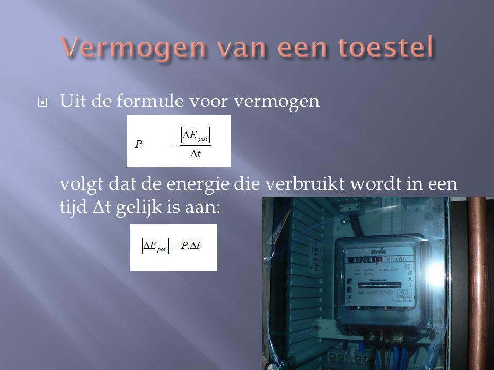  Uit de formule voor vermogen volgt dat de energie die verbruikt wordt in een tijd Δ t gelijk is aan: