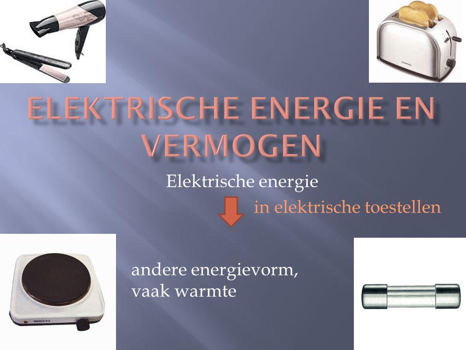 Elektrische energie in elektrische toestellen andere energievorm, vaak warmte