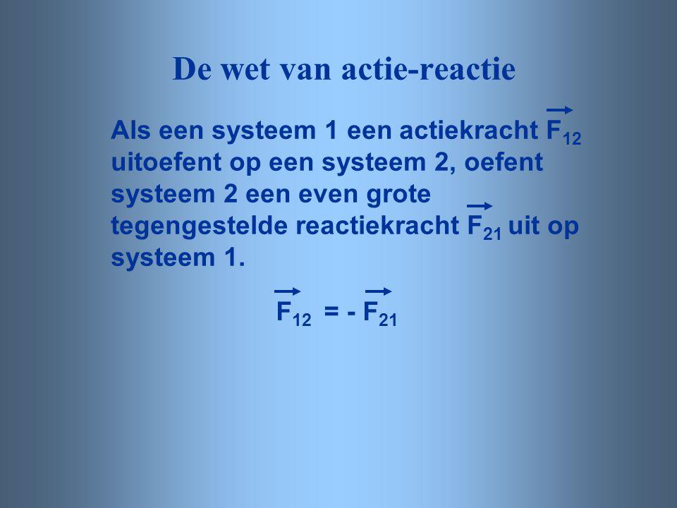 De wet van actie-reactie Als een systeem 1 een actiekracht F 12 uitoefent op een systeem 2, oefent systeem 2 een even grote tegengestelde reactiekrach