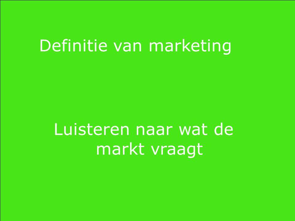 Definitie van marketing Luisteren naar wat de markt vraagt