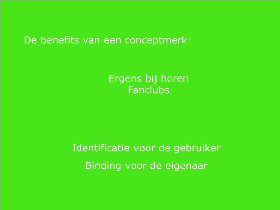 De benefits van een conceptmerk: Ergens bij horen Fanclubs Identificatie voor de gebruiker Binding voor de eigenaar