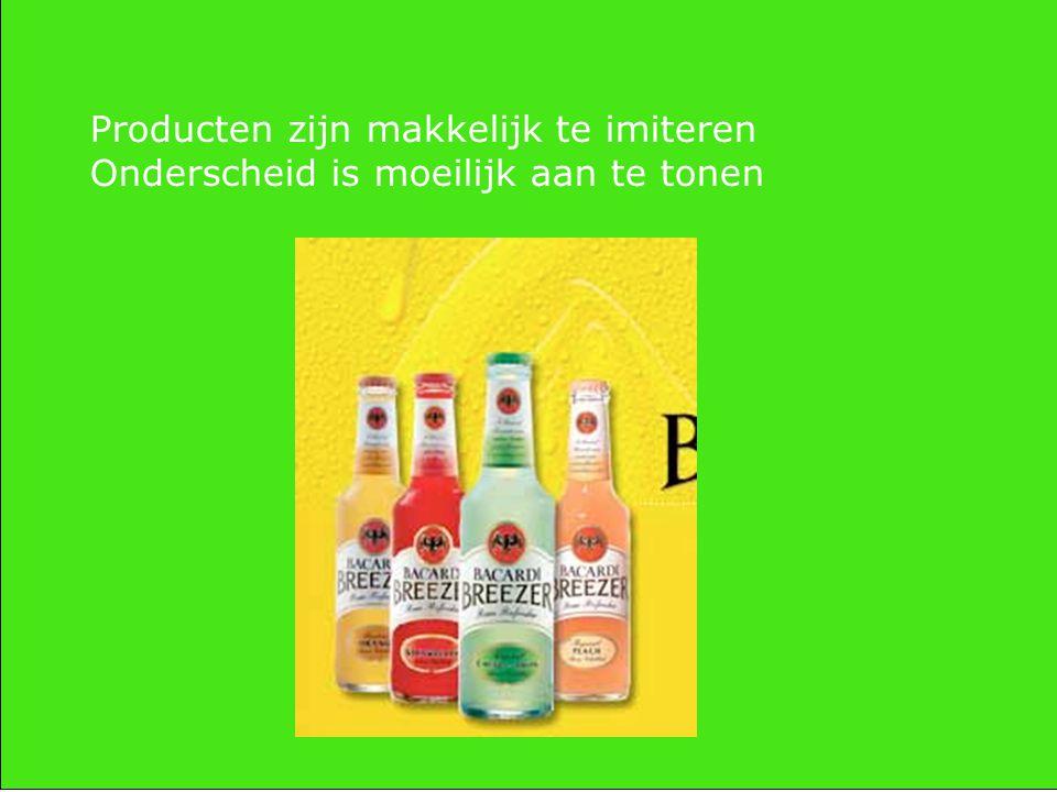 Onderscheid (zie van Kralingen) komt door: -Productkenmerken (beter, sterker, harder) -Prijs (korting, dubbele airmiles) -Communicatie (humor, sex) -Maar ook ……