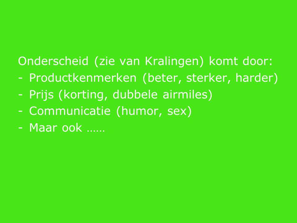 Onderscheid (zie van Kralingen) komt door: -Productkenmerken (beter, sterker, harder) -Prijs (korting, dubbele airmiles) -Communicatie (humor, sex) -M