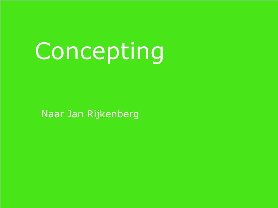 Concepting Het merk is een gedachtegoed Productontwikkeling volgt op conceptontwikkeling en niet andersom Je richt je niet op een doelgroep, maar creëert een volggroep