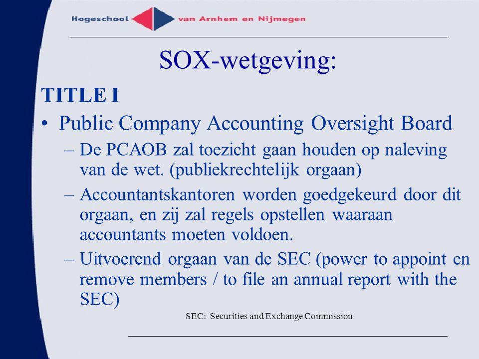 SOX-wetgeving: TITLE I Public Company Accounting Oversight Board –De PCAOB zal toezicht gaan houden op naleving van de wet. (publiekrechtelijk orgaan)