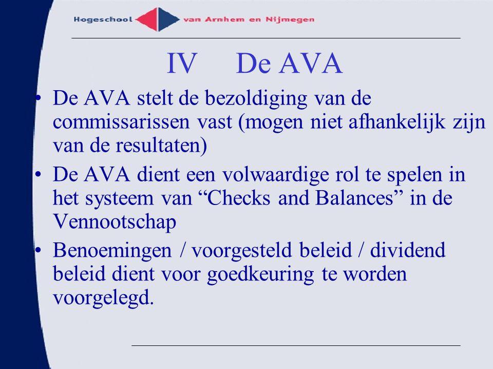 De AVA stelt de bezoldiging van de commissarissen vast (mogen niet afhankelijk zijn van de resultaten) De AVA dient een volwaardige rol te spelen in h