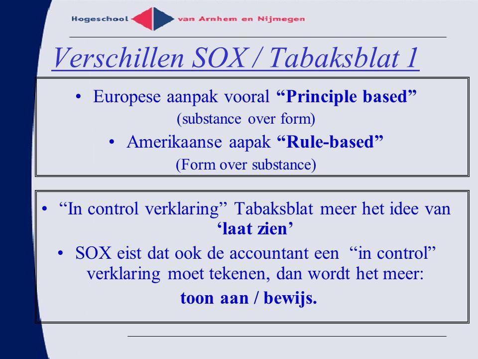 "Verschillen SOX / Tabaksblat 1 Europese aanpak vooral ""Principle based"" (substance over form) Amerikaanse aapak ""Rule-based"" (Form over substance) ""In"