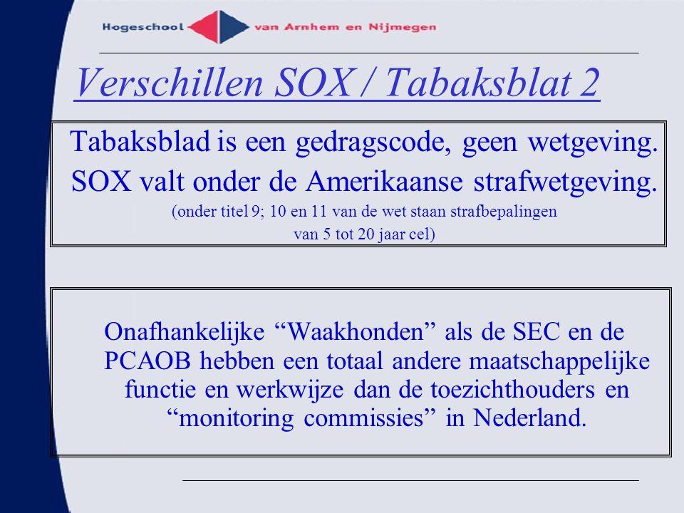 Verschillen SOX / Tabaksblat 2 Tabaksblad is een gedragscode, geen wetgeving. SOX valt onder de Amerikaanse strafwetgeving. (onder titel 9; 10 en 11 v