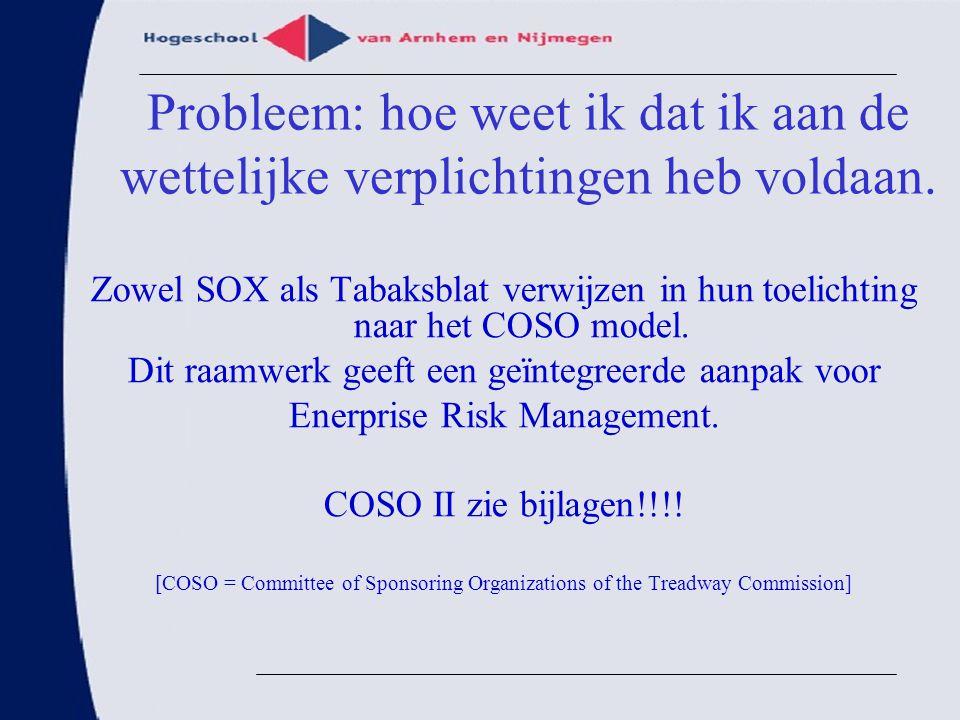 Probleem: hoe weet ik dat ik aan de wettelijke verplichtingen heb voldaan. Zowel SOX als Tabaksblat verwijzen in hun toelichting naar het COSO model.