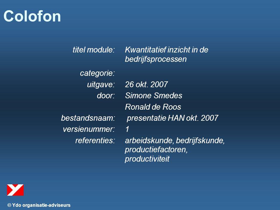 © Ydo organisatie-adviseurs Colofon titel module:Kwantitatief inzicht in de bedrijfsprocessen categorie: uitgave:26 okt.