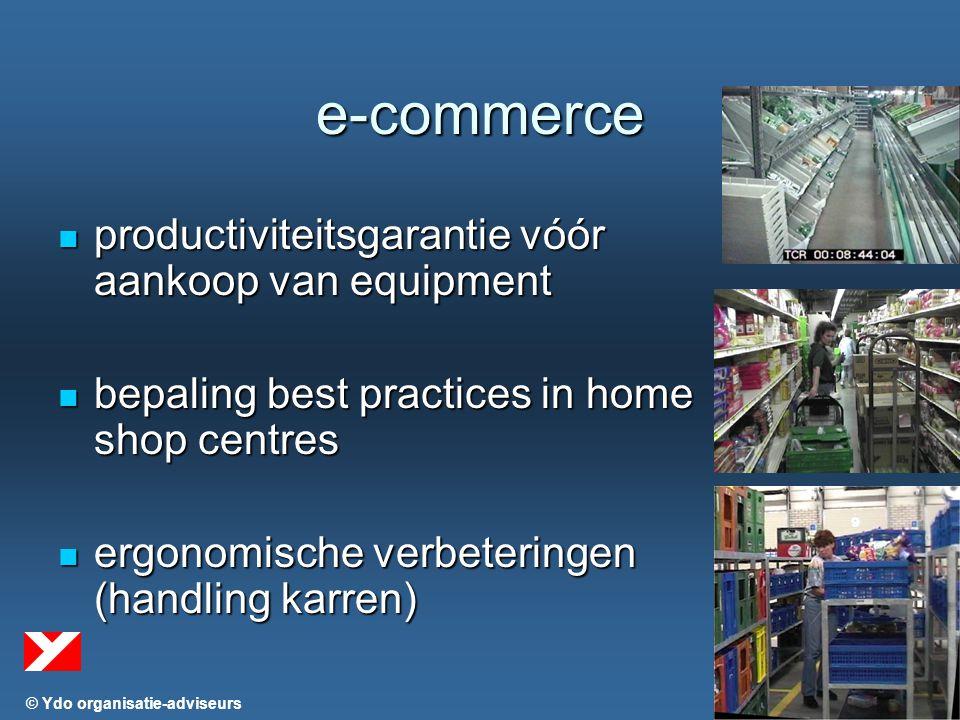 © Ydo organisatie-adviseurs e-commerce productiviteitsgarantie vóór aankoop van equipment productiviteitsgarantie vóór aankoop van equipment bepaling best practices in home shop centres bepaling best practices in home shop centres ergonomische verbeteringen (handling karren) ergonomische verbeteringen (handling karren)