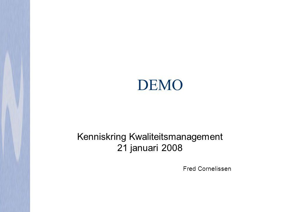DEMO Kenniskring Kwaliteitsmanagement 21 januari 2008 Fred Cornelissen