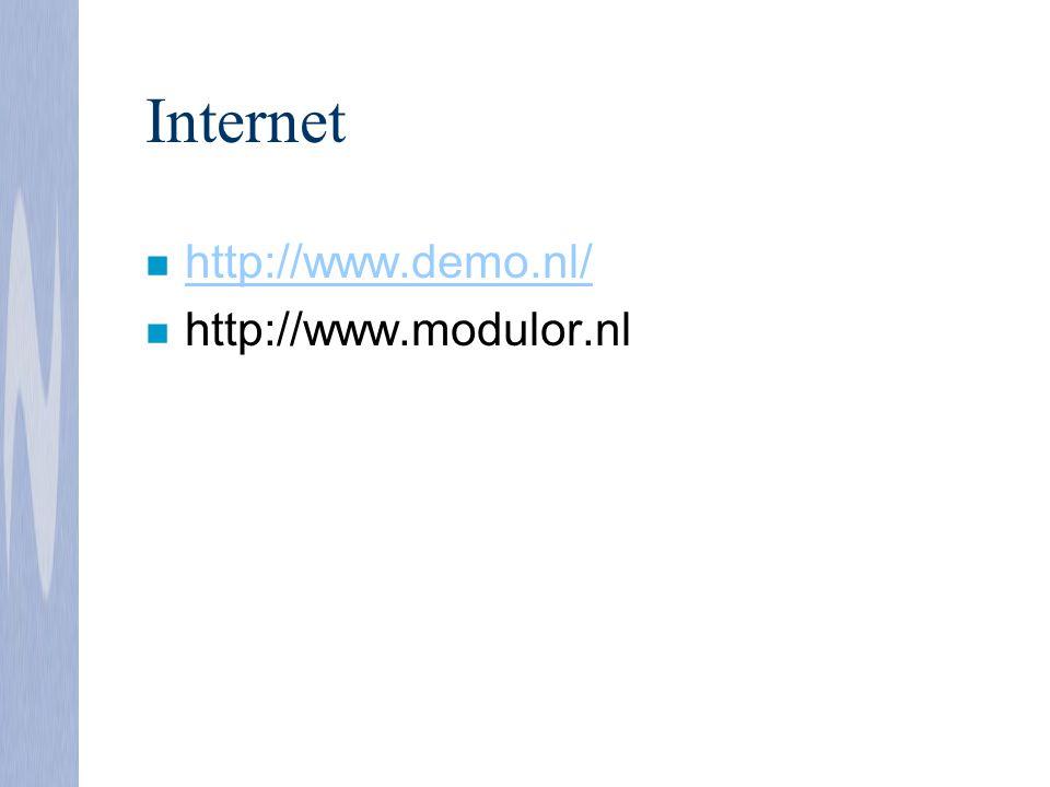 Internet n http://www.demo.nl/ http://www.demo.nl/ n http://www.modulor.nl