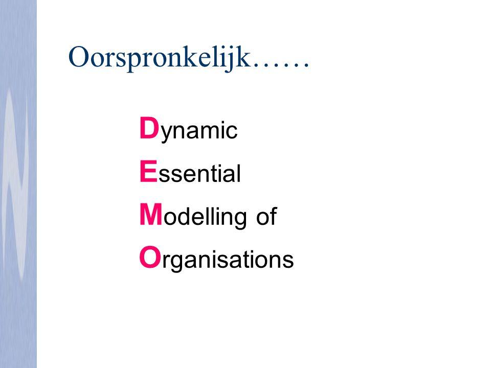 D ynamic E ssential M odelling of O rganisations Oorspronkelijk……