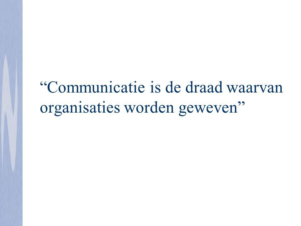 """""""Communicatie is de draad waarvan organisaties worden geweven"""""""