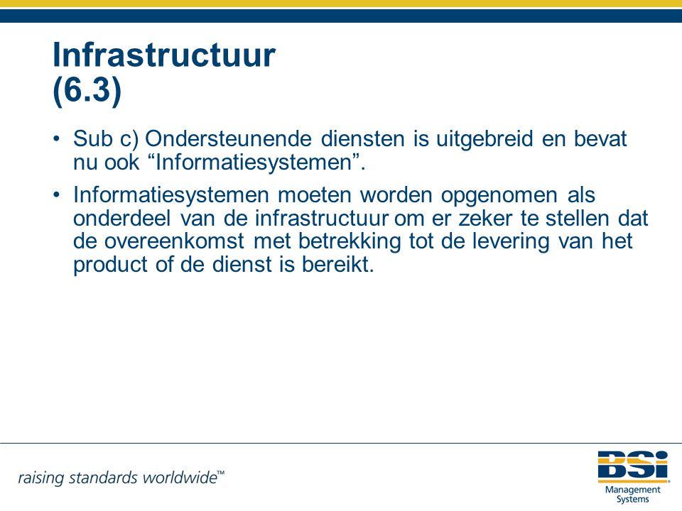 """Infrastructuur (6.3) Sub c) Ondersteunende diensten is uitgebreid en bevat nu ook """"Informatiesystemen"""". Informatiesystemen moeten worden opgenomen als"""