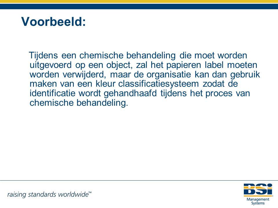 Voorbeeld: Tijdens een chemische behandeling die moet worden uitgevoerd op een object, zal het papieren label moeten worden verwijderd, maar de organi