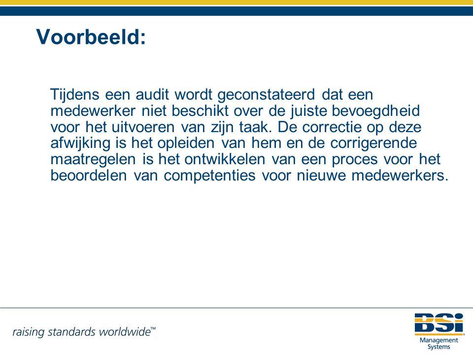 Voorbeeld: Tijdens een audit wordt geconstateerd dat een medewerker niet beschikt over de juiste bevoegdheid voor het uitvoeren van zijn taak. De corr