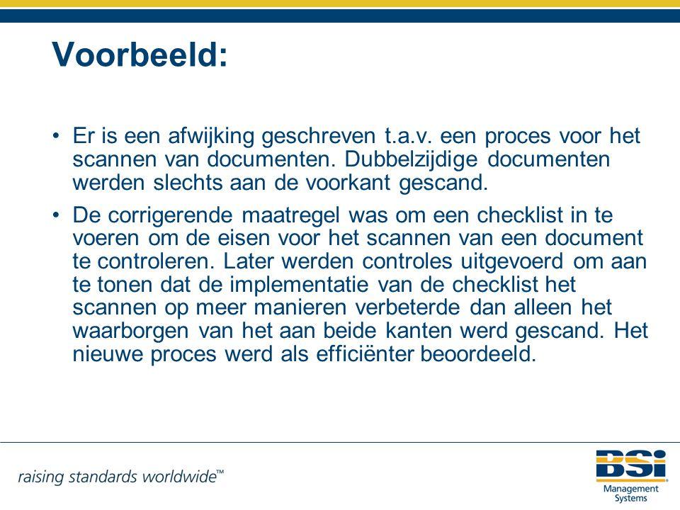 Voorbeeld: Er is een afwijking geschreven t.a.v. een proces voor het scannen van documenten. Dubbelzijdige documenten werden slechts aan de voorkant g