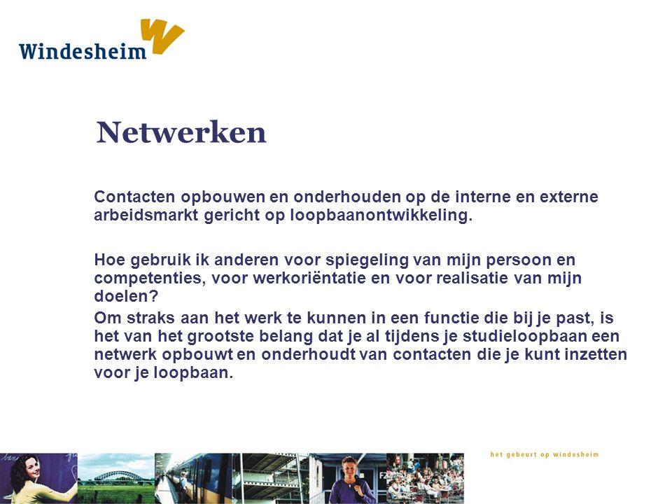 Netwerken Contacten opbouwen en onderhouden op de interne en externe arbeidsmarkt gericht op loopbaanontwikkeling. Hoe gebruik ik anderen voor spiegel