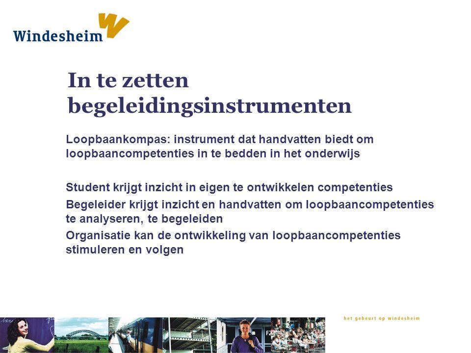 In te zetten begeleidingsinstrumenten Loopbaankompas: instrument dat handvatten biedt om loopbaancompetenties in te bedden in het onderwijs Student kr