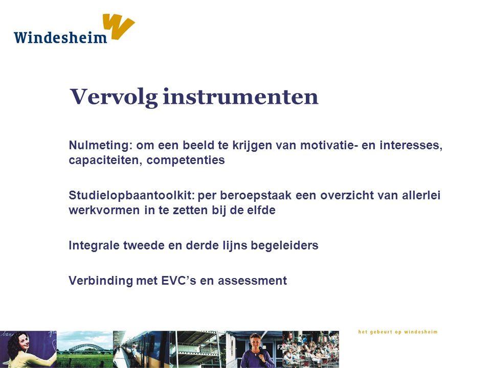 Vervolg instrumenten Nulmeting: om een beeld te krijgen van motivatie- en interesses, capaciteiten, competenties Studielopbaantoolkit: per beroepstaak