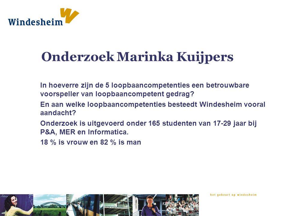 Onderzoek Marinka Kuijpers In hoeverre zijn de 5 loopbaancompetenties een betrouwbare voorspeller van loopbaancompetent gedrag? En aan welke loopbaanc