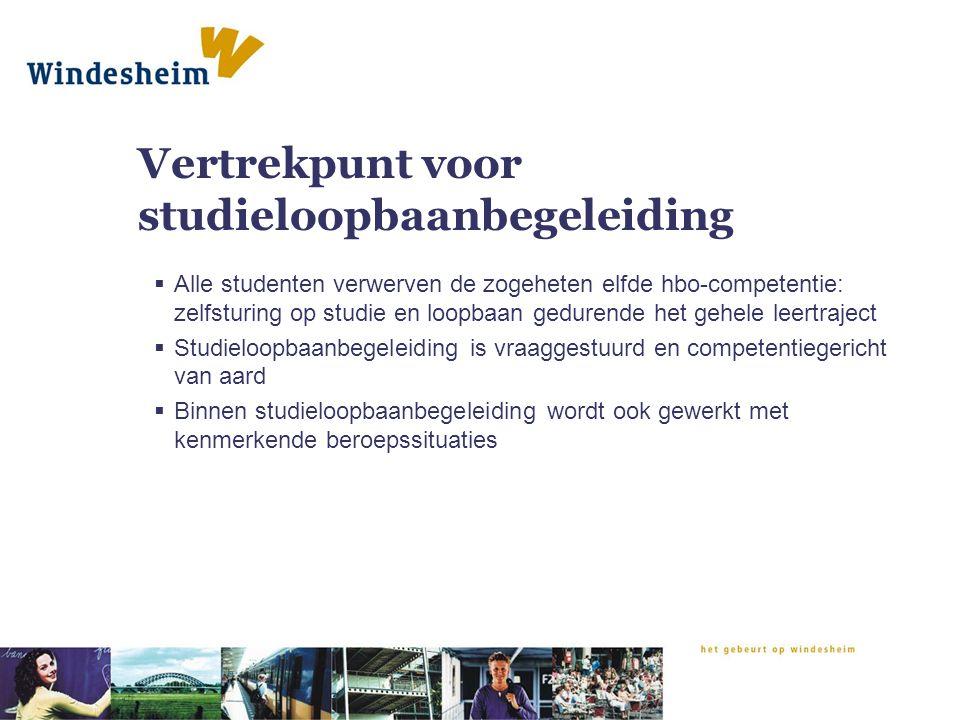 Vertrekpunt voor studieloopbaanbegeleiding  Alle studenten verwerven de zogeheten elfde hbo-competentie: zelfsturing op studie en loopbaan gedurende