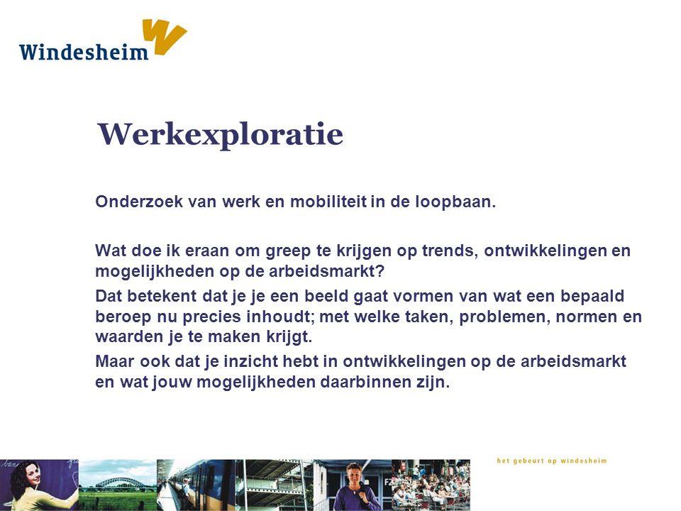 Werkexploratie Onderzoek van werk en mobiliteit in de loopbaan. Wat doe ik eraan om greep te krijgen op trends, ontwikkelingen en mogelijkheden op de